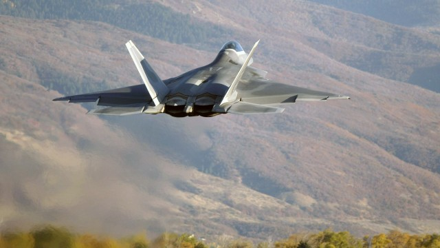 f22 airplane take off wide