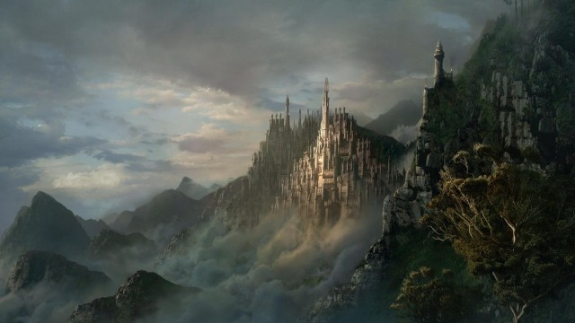 castles, architecture, fantasy, sky, clouds, trees, mountains, wow