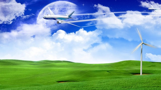 aviation, planets, clouds, graphics, grass, field