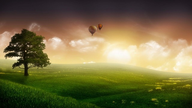 nature, grass, sky, clouds, trees, balloon, graphics
