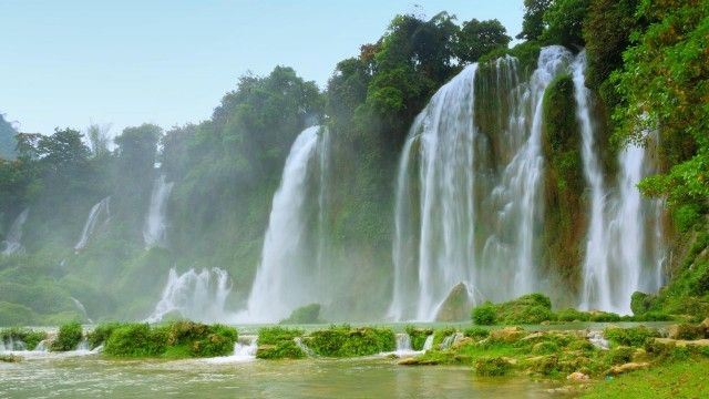 Waterfall and tropic forest