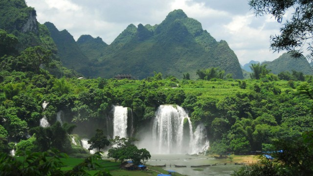 Waterfall and green mountains