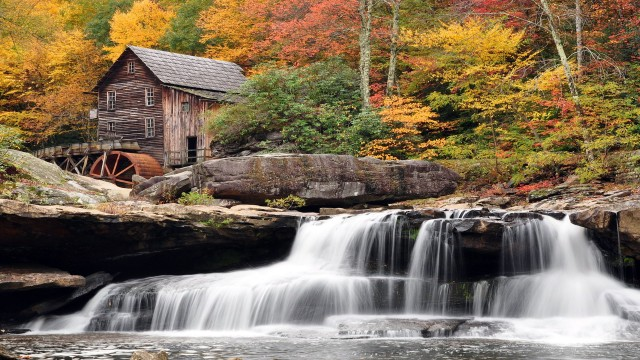 Old Lumber Mill by a Waterfall Wallpaper