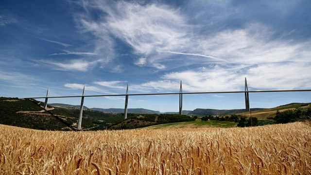 field, nature, sky, bridge
