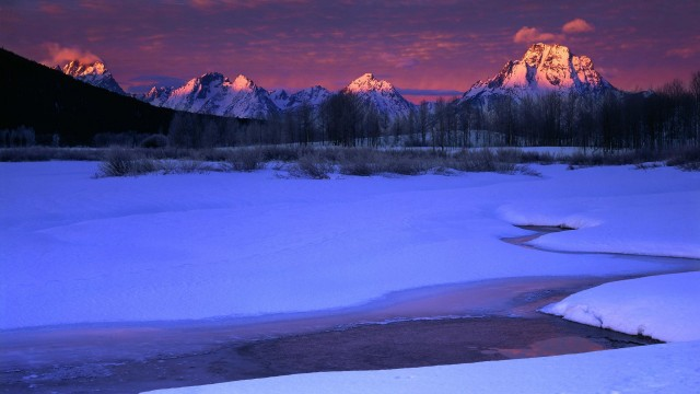 Winter Sunrise Light on the Teton Range, Grand Teton National Park, Wyoming